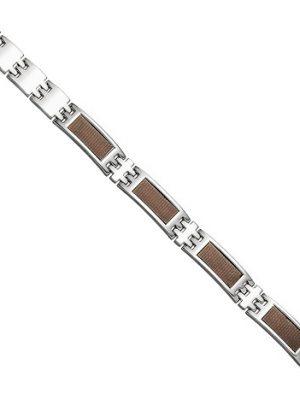 SIGO Herren Armband aus Edelstahl mit braunen Carbon Einlagen 21 cm