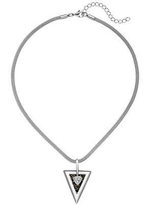 SIGO Kette mit Anhänger Dreieck Edelstahl 3 Zirkonia und SWAROVSKI® ELEMENTS 47 cm