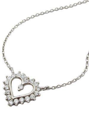 SIGO Kette mit Herz, rhodiniert, Silber 925