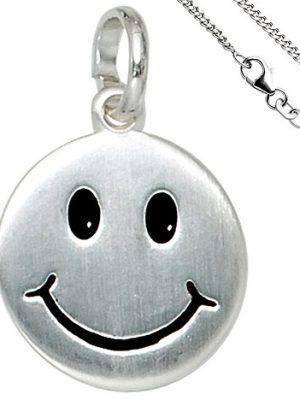 SIGO Kinder Anhänger Lächelndes Gesicht 925 Silber Kinderanhänger mit Kette 38 cm
