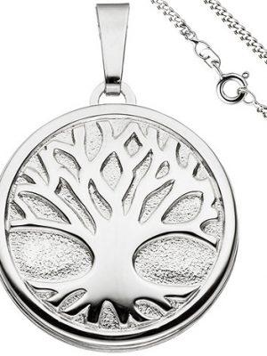SIGO Medaillon Anhänger Baum des Lebens Weltenbaum rund 925 Silber mit Kette 60 cm
