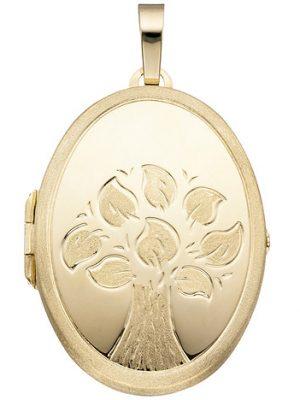 SIGO Medaillon Baum oval für 2 Fotos 585 Gold Gelbgold matt Anhänger zum Öffnen