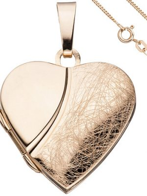 SIGO Medaillon Herz Anhänger zum Öffnen 925 Silber rosegold vergoldet mit Kette 45 cm