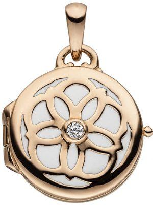 SIGO Medaillon rund für ein Foto 925 Sterling Silber rotgold vergoldet 1 Zirkonia