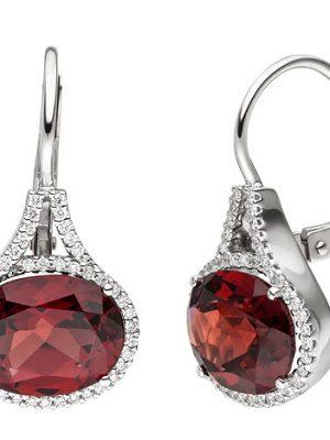 SIGO Ohrhänger 585 Gold Weißgold 88 Diamanten Brillanten 2 Granate rot Ohrringe