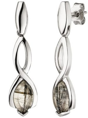 SIGO Ohrhänger 925 Sterling Silber 2 Turmalinquarze Ohrringe