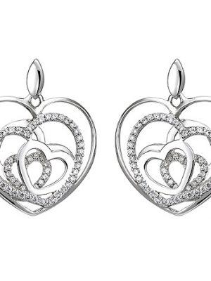 SIGO Ohrhänger Herzen 925 Silber 114 Zirkonia Ohrringe