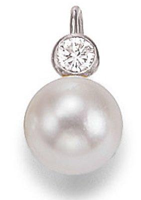 SIGO Ohrringe 585 Weißgold Diamant Süßwasser-Perle 7 mm