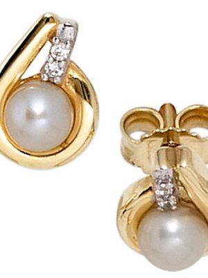 SIGO Ohrstecker 333 Gelbgold bicolor 2 Süßwasser Perlen 4 Zirkonia Ohrringe