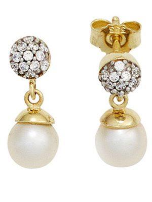 SIGO Ohrstecker 333 Gelbgold bicolor 2 Süßwasser Perlen mit Zirkonia Ohrringe