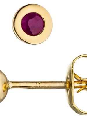 SIGO Ohrstecker 333 Gold Gelbgold 2 Rubine rot Ohrringe Goldohrringe Rubinohrringe