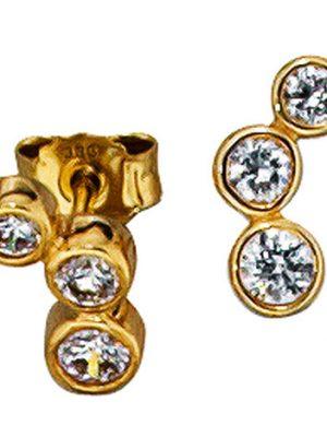 SIGO Ohrstecker 333 Gold Gelbgold 6 Zirkonia Ohrringe Goldohrstecker