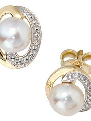 SIGO Ohrstecker 585 Gold Gelbgold 2 Diamanten Brillanten 2 Süßwasser Perlen Ohrringe