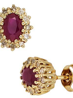 SIGO Ohrstecker 585 Gold Gelbgold 24 Diamanten 0,24ct. 2 Rubine rot Ohrringe