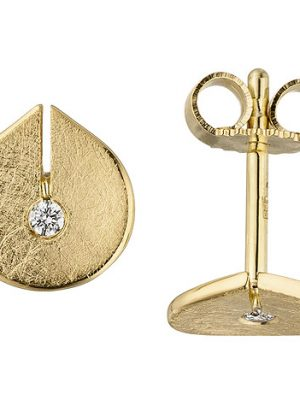 SIGO Ohrstecker 585 Gold Gelbgold eismatt 2 Diamanten Brillanten Ohrringe