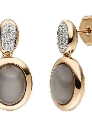 SIGO Ohrstecker 585 Gold Rotgold 2 Mondstein Cabochons 32 Diamanten Brillanten