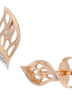 SIGO Ohrstecker 585 Gold Rotgold 6 Diamanten Brillanten Ohrringe