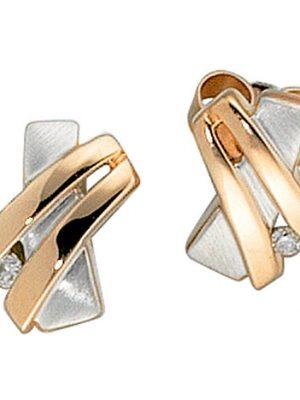 SIGO Ohrstecker 585 Gold Rotgold bicolor teilmatt 2 Diamanten Brillanten Ohrringe