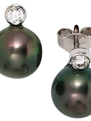 SIGO Ohrstecker 585 Gold Weißgold 2 Diamanten Brillanten 2 Tahiti Perlen Ohrringe