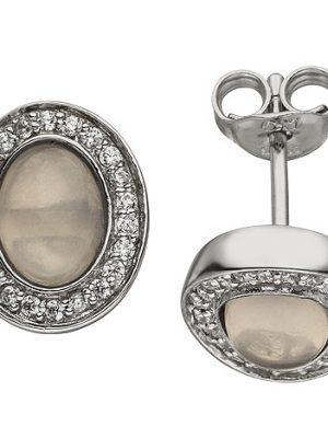 SIGO Ohrstecker 925 Sterling Silber 2 Rosenquarze 44 Zirkonia Ohrringe Silberohrringe