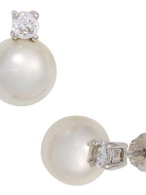 SIGO Ohrstecker 925 Sterling Silber 2 Zirkonia 2 synthetische Perlen Ohrringe