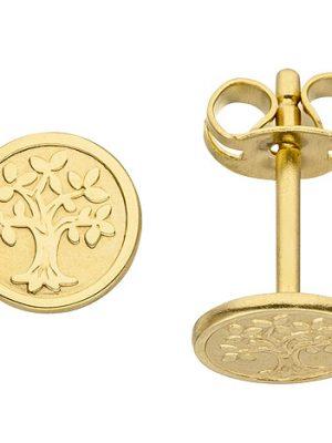 SIGO Ohrstecker Baum Lebensbaum 333 Gold Gelbgold mattiert Ohrringe Goldohrringe