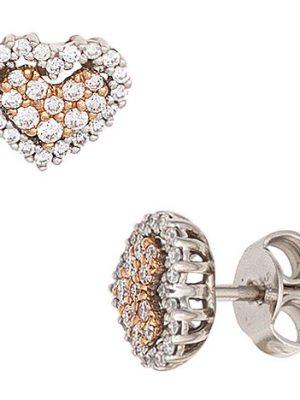SIGO Ohrstecker Herz 585 Gold Weißgold Rotgold 60 Diamanten Brillanten Ohrringe