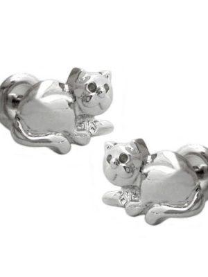 SIGO Ohrstecker, Katze, rhodiniert, Silber 925