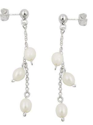 SIGO Ohrstecker, Kette mit 3 Perlen, Silber 925