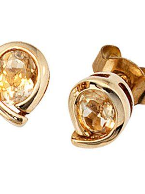 SIGO Ohrstecker Tropfen 333 Gold Gelbgold 2 Citrine orange Ohrringe Goldohrstecker
