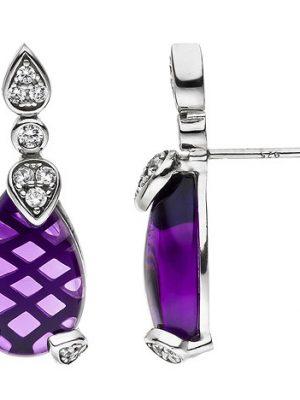 SIGO Ohrstecker Tropfen 925 Silber 2 Amethyste und 26 Zirkonia lila violett Ohrringe