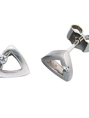 SIGO Ohrstecker dreieckig 950 Platin mattiert 2 Diamanten Brillanten Ohrringe