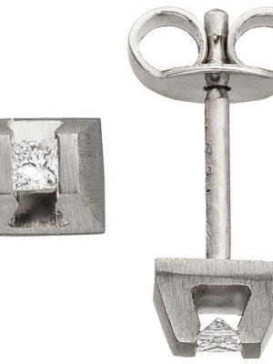 SIGO Ohrstecker eckig 950 Platin matt 2 Diamanten Ohrringe Platinohrringe
