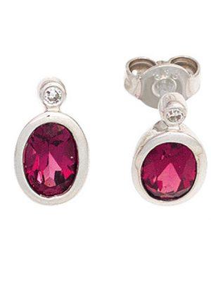 SIGO Ohrstecker oval 585 Gold Weißgold 2 Turmaline rosa pink 2 Diamanten Ohrringe
