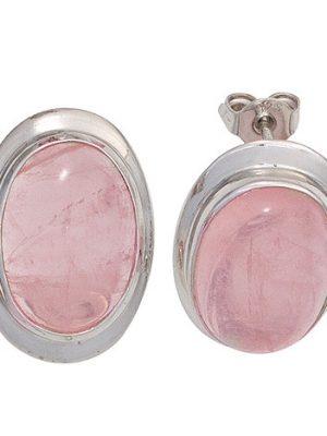 SIGO Ohrstecker oval 925 Sterling Silber rhodiniert 2 Rosenquarze rosa Ohrringe