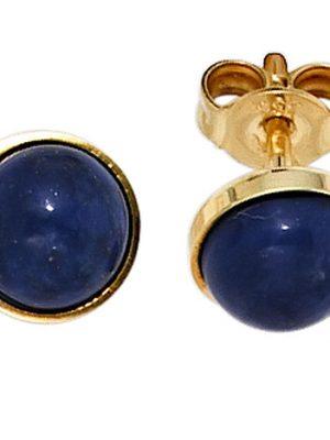 SIGO Ohrstecker rund 333 Gold Gelbgold 2 Lapislazuli blau Ohrringe Goldohrstecker