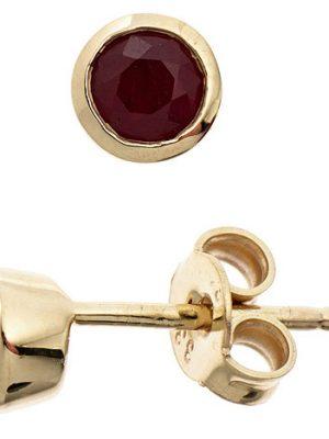 SIGO Ohrstecker rund 333 Gold Gelbgold 2 Rubine rot Ohrringe Goldohrstecker