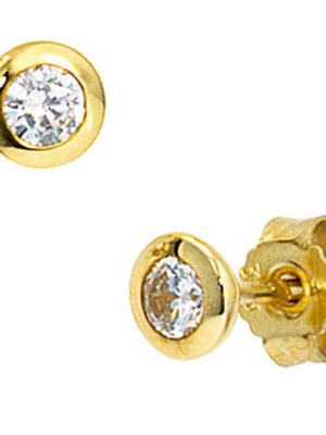 SIGO Ohrstecker rund 333 Gold Gelbgold 2 Zirkonia Ohrringe Goldohrstecker