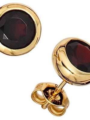 SIGO Ohrstecker rund 375 Gold Gelbgold 2 Granate rot Ohrringe