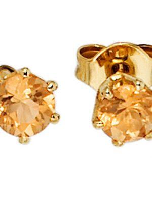 SIGO Ohrstecker rund 585 Gold Gelbgold 2 Citrine orange Ohrringe Goldohrstecker