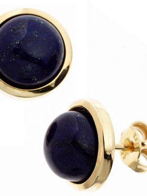 SIGO Ohrstecker rund 585 Gold Gelbgold 2 Lapislazuli blau Ohrringe Goldohrstecker