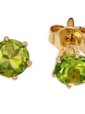 SIGO Ohrstecker rund 585 Gold Gelbgold 2 Peridote grün Ohrringe Goldohrstecker
