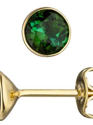 SIGO Ohrstecker rund 585 Gold Gelbgold 2 Turmaline grün Ohrringe Turmalinohrringe
