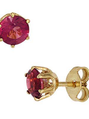 SIGO Ohrstecker rund 585 Gold Gelbgold 2 Turmaline rosa pink Ohrringe Goldohrstecker