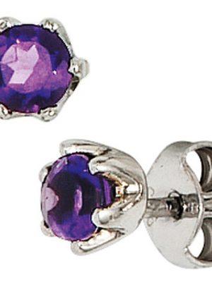SIGO Ohrstecker rund 925 Sterling Silber rhodiniert 2 Amethyste lila violett Ohrringe