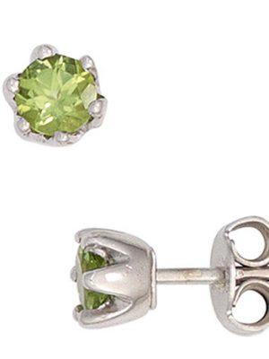 SIGO Ohrstecker rund 925 Sterling Silber rhodiniert 2 Peridote grün Ohrringe