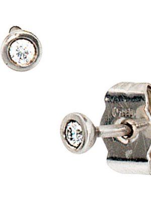 SIGO Ohrstecker rund 950 Platin matt 2 Diamanten Brillanten Ohrringe Platinohrringe