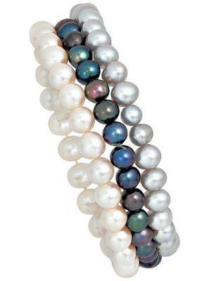 SIGO Perlenarmbänder 3er Set Süßwasser Perlen Armband Armbänder endlos