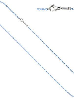 SIGO Rundankerkette Edelstahl blau lackiert 50 cm Kette Halskette Karabiner