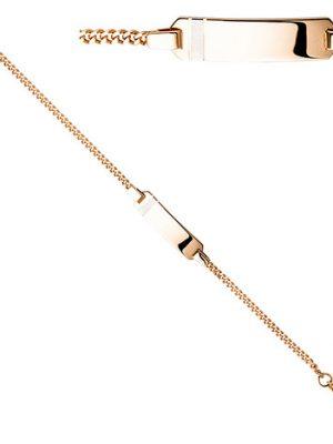 SIGO Schildband 925 Sterling Silber rotgold vergoldet Gravur ID Armband